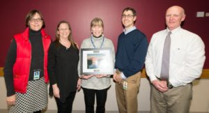 Nancy Ryan (center), RR Program Employee of the Year, with (l to r) Darsi Foss, Pam Mylotta, Bart Sponseller, Pat Stevens