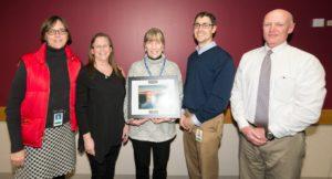 Nancy Ryan (center), RR Program Employee of the Year, with (l to r) Darsi Foss, Pam Mylotta, Bart Sponseller, Pat Stevens