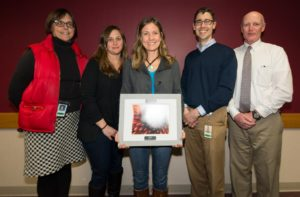 Sonya Rowe (center), EM Division Employee of the Year, with (l to r) Darsi Foss, Jenna Soyer, Bart Sponseller, Pat Stevens